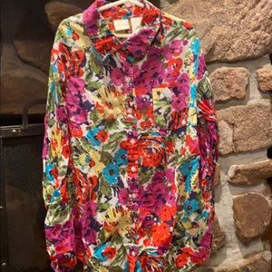 Bright floral button up shirt!!
